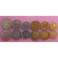 Узбекистан. набор 6 монет 1,3,5,10,20,50 тийин 1994 года