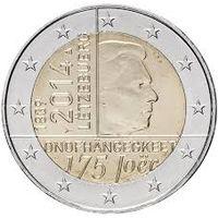2 евро 2014 Люксембург 175 лет нации UNC из ролла