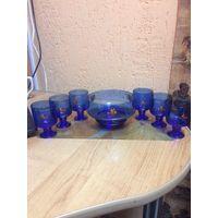 Набор коньячно-конфетный синего стекла