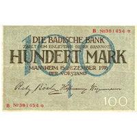 Германия, Баден, 100 марок, 1918 г. Ros.BAD6. Не частые!