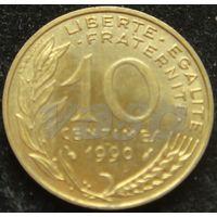 1281:  10 сантимов 1990 Франция KM# 929