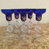 Бокалы - шампанки (набор 6 штук) Сапфировые Цветы, цветное стекло