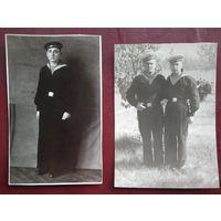 2 фото матросов Пинской флотилии. 1956 г. 8х11 см. Цена за оба.