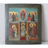 Икона Покров Пресвятой Богородицы. 19 век. По золоту.
