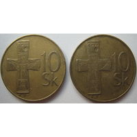 Словакия 10 крон 1993, 1994 гг. Цена за 1 шт. (a)
