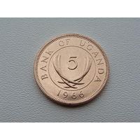 Уганда. 5 центов 1966 год  KM#1