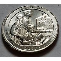 25 центов, квотер США, остров Эллис, D (штат Нью-Джерси)