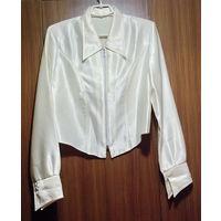 Блузка кремовая на замочке с длинным рукавом, р.42-44