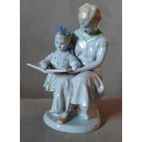 Статуэтка Мама с дочкой читают книгу зхк Полонне 50 гг Нечастая отличная