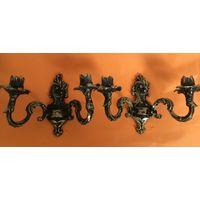Старый настенный двухрожковый подсвечник Канделябр (пара) Латунь/бронза