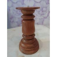 Солидный деревянный подсвечник 19,5 см.