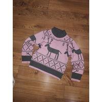 Шерстяной свитер для девочки рост 110-116 см.