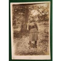 Фото девушки-военнослужащей. Мы победили. Берлин. мая 1945 г. 6.5х9.5 см