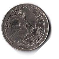 США. 1/4 доллара (1 квотер, 25 центов). 2015. Автомагистраль Блу-Ридж. D