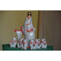 Штоф РЫБА + 6 рыбок  ( комплект , все целое )  ЗХК Полонное