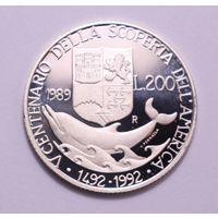 "Италия, 200 лир 1989 год, ""Колумб"",  - серебро, proof -"