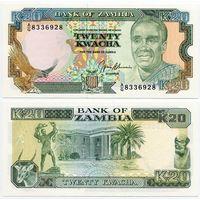 Замбия. 20 квача (образца 1989 года, P32b, UNC)