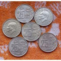 Турция 25 тысяч Лир. Толстые, красивые монеты. Подписывайтесь! Много новых лотов в продаже!!!