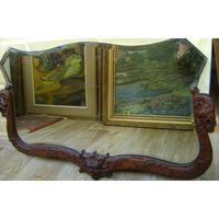 Зеркало старинное.Рама-дерево. стекло родное
