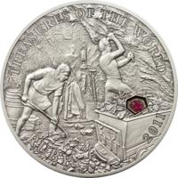 """Палау 5 долларов 2011г. """"Сокровища мира: Рубин"""". Монета в капсуле; сертификат; подарочный бокс; коробка. СЕРЕБРО 25гр."""