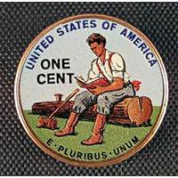 США 2009 ЦВЕТНОЙ цент LINCOLN RAILSPLITTER CENT UNС