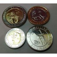 Кения 1, 5, 10, 20 шиллингов 2018, набор из 4 монет жираф, носорог, лев, слон.