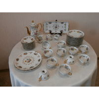 Сервиз чайный фарфоровый ручная роспись по золочению 11 персон Porz. Manuf. Paul Leitner Wiesau Bavaria Германия.