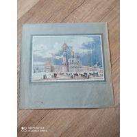 Старинная гравюра, кремль, 19в.