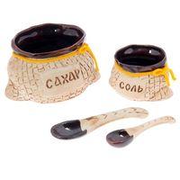 Набор керамика сахарница и солонка с ложками