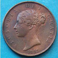 Великобритания 1/2 пенни 1853. Редкость. Красивая. Недорого