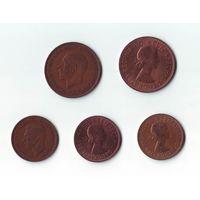 1 пенни -1934, 1967, 1/2 пенни - 1940, 1962, 1967.