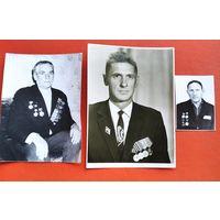 3 фото ветеранов с медалями. 11.5х14 см (max). Цена за все.