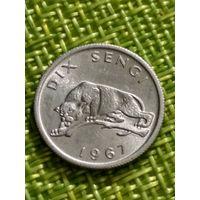 Конго  10 сантим 1967 г гепард , фауна