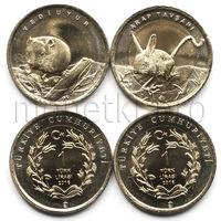 Турция 2 монеты 2016 года. Тушканчик и полевая мышь (красная книга Турции).