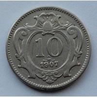 Австрия 10 геллеров. 1907