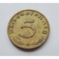 """Германия, 5 пфеннигов 1938 год. Монетный двор """"D"""""""