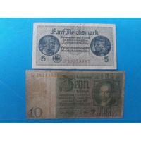 Германия. 10 марок 1924 года и 5 марок  одним лотом.