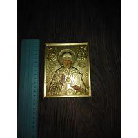 Икона Николай Чудотворец в латунном окладе
