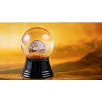 """Острова Кука 1 доллар 2018г. """"Золотая осень"""". Монета в стеклянном шаре; сертификат; коробка. СЕРЕБРО 3,10гр."""