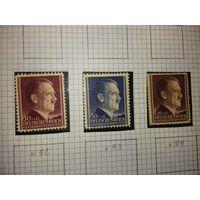 Германия. Генерал-губернаторство. 1942. Стандарт. Адольф Гитлер. Полная серия 3 чистые марки