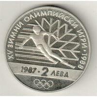 Болгария 2 лев 1987 Зимние Олимпийские игры
