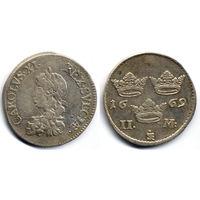 2 марки 1669, Швеция. Штемпельный блеск, коллекционное состояние