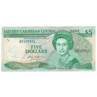 Санта-Лючия Восточно-Карибские штаты 5 долларов образца 1986 года. Префикс номера буква L. Вариант подписей 1. Редкая! Состояние XF!