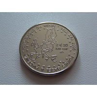"Бенин. 1500 франков 2005 год KM#44 "" Карта Евро"""
