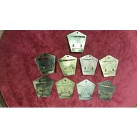 Латунные колодки к медалям 9 шт