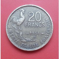 "68-08 Франция, 20 франков 1951 г.  ""B"" - Бомон-ле-Роже"
