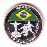 Либерия. 10 долларов 2005 г. Футбол, сборная Бразилия - состояние !