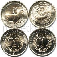 Турция 2 монеты 2015 года. Варан и баран (красная книга Турции).
