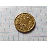 Франция 1 франк, 1938