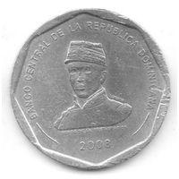 ДОМИНИКАНСКАЯ РЕСПУБЛИКА. 25 ПЕСО 2008. Герой Освобождения Грегорио Луперон, 20-й президент Доминиканской Республики